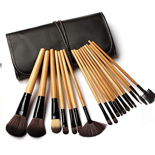 Sets de pinceaux de Maquillage 18 Pièces en Bois Couleur Maquillage Outil Set Maquillage Brush Set Outils De Beauté Portable Beauté Brosse Pinceau De Maquillage (Color : Wood Color)