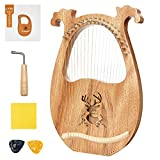 19-String Wooden Lyre Harp,Wooden Musical Instrument Lyre Harp,with Tuning Wrench and Picks