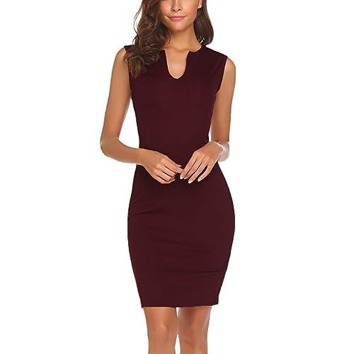 9d74210714b0 Naggoo Women's Business Wear to Work Sleeveless V Neck Bodycon Pencil Dress