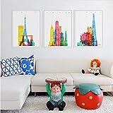 EDGIFT2 Acuarela París Londres Nueva York Edificios Abstractos A4 Impresión de Arte Grande Cartel Imagen de la Pared Pintura de la Lona Sin Marco Decoración para el hogar 50x70cmx3Sin Marco