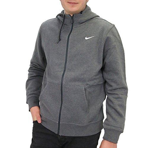 Nike Men's Club Swoosh Full Zip Fleece Hoody, Charcoal Heather, M