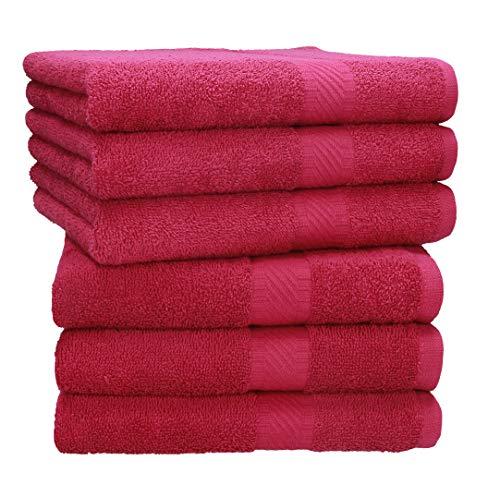 Betz 6 Stück Handtücher Palermo 100% Baumwolle Handtuch-Set Farbe Cranberry