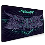 Extended Unique Design Gaming Mouse Pad,Optimized for Gaming Sensors - Designed for Maximum Control for Computers Laptop Animal Graphics Wolf Geometry - inch