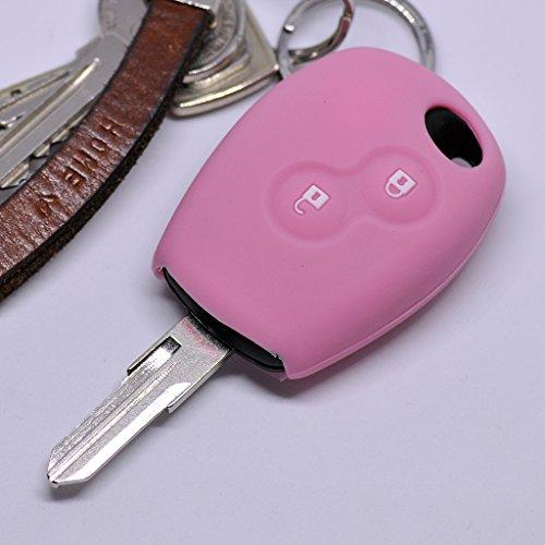 Silikon Soft Case Schutz Hülle Auto Schlüssel 2 Tasten Pink kompatibel mit Dacia Dokker Sandero Duster Lodgy Logan Renault Clio Twingo