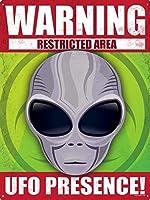 MMNGT Warning UFO Presing! ブリキ看板 ブリキ看板 7.8X11.8インチ