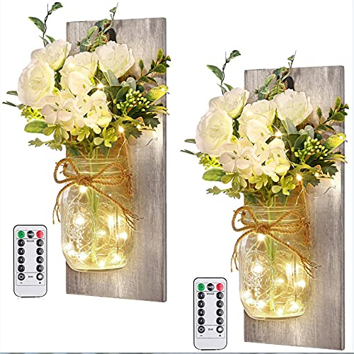 HeiHeiDa Mason Jar Flower Lights - Wall Lamp LED String Light with 2 Bunch of Artificial Flowers,2 Remote Control, Fairy Lamps for Living Room and Farmhouse Wall Decorations