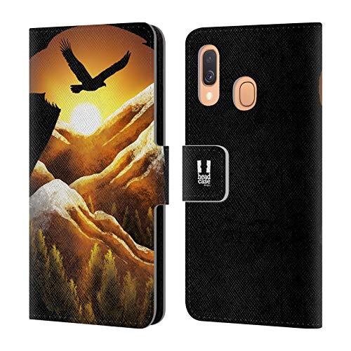 Head Hülle Designs Adler Tiere Doppelbelichtung Leder Brieftaschen Huelle kompatibel mit Samsung Galaxy A40 (2019)