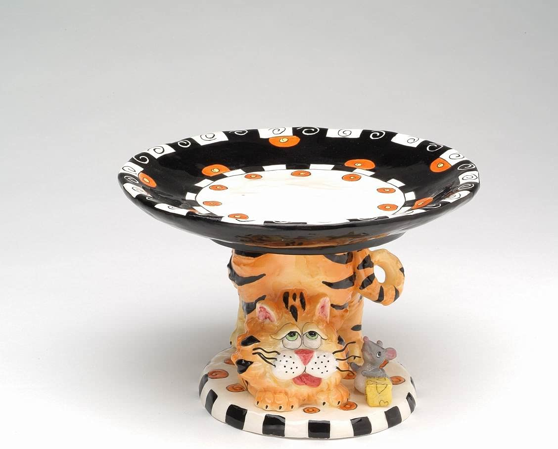 Fine Now on sale Ceramic Cat with Mouse Dish Quality inspection Footed 7