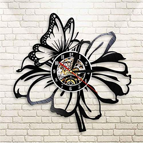 ERTOQ Vinyl Record Wall Clock Hanging Night Lamp 7 Color Quartz Silent butterfly Modern film Quartz Remote Backlight CD Design Home Decor for Kid Friend adult 12 Inch- With LED
