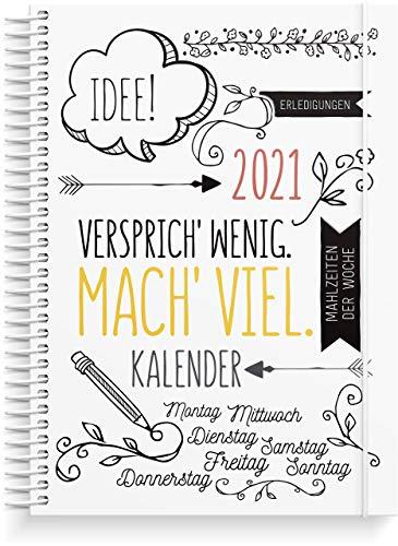 Doodle Life Planner 2021 Kalender | 142 Aufkleber enthalten | 28 Dezember 2020 bis 9 Januar 2022 |Terminplaner DIN A5 Format | Wöchentlicher Planer mit Platz für Kreativität