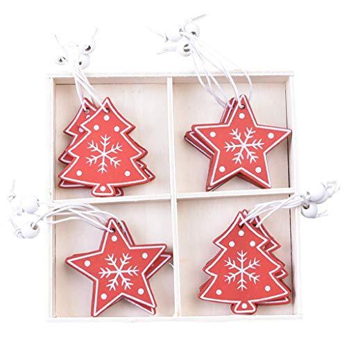 Xiongz Adorno de árbol personalizado de Navidad, colgantes de madera, mini árbol de Navidad, adornos en caja de adornos de bolas (color: G)