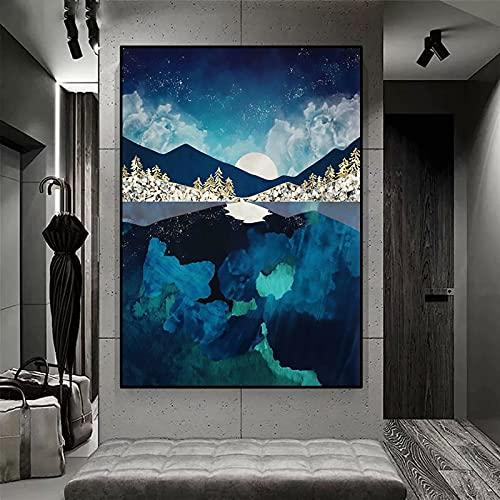 Agua de medianoche /Kit de pintura de diamante 5D por número, /Diamond Painting Completo Bordado Punto de Cruz Diamante Craft /arte decoración de la pared del hogar / Sin marco