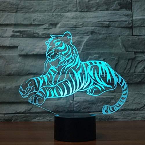con Buena calidad Panel Acrílico Base ABS Tigre 16 Cambio de Color Lámpara de Noche de Ilusión óptica 3D