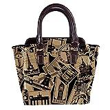 Rivets - Bolso de piel para mujer, con asa superior, para ir de compras, trabajo, campus y viajes, color negro
