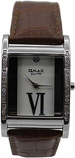 ساعة يد للجنسين من اوماكس ، انالوج بعقارب ، جلد بني، فضي