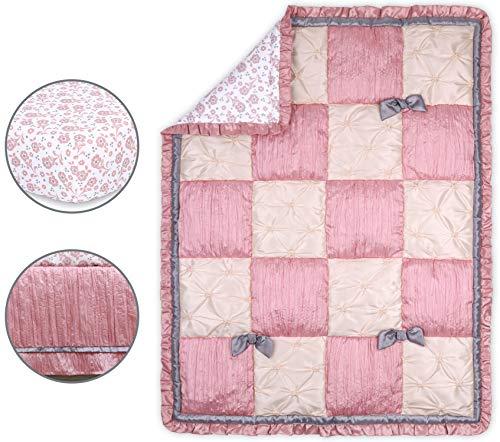 The Peanutshell Bella Crib Bedding Set for Baby Girls | 3 Piece Nursery Set | Crib Quilt, Fitted Crib Sheet, Dust Ruffle
