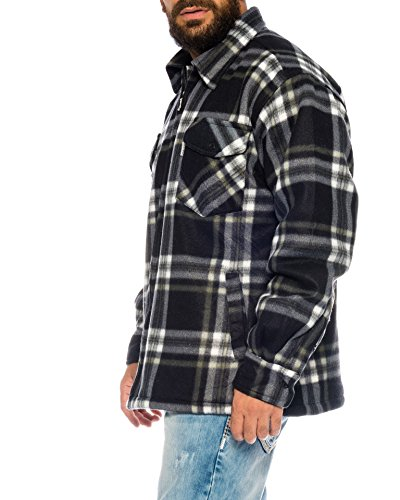 Holzfällerhemd Arbeitshemd Flanellhemd/Jacke Kariert Thermohemd gefüttert 01 (M, 01 Blau/Weiß)