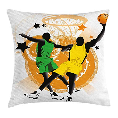ZHIZIQIU Boy's Room Throw Pillow Cushion Cover, Silhouettes of Professional Players in Uniforms Abstract Stars Rings, Decorative Square Accent Pillow Case, 18 X 18 Inches, Green Orange Black