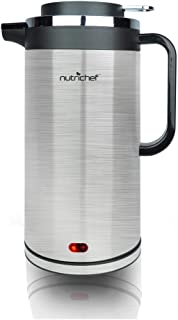 NutriChef 1.8 Liter Electric Water Kettle - Cordless Automatic Power Off Safety Feature Premium Brushed Stainless Steel For Coffee and Tea w/ Convenient Easy-Pour Safety Locking Spout PKWK23SR