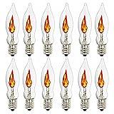 Flicker Flame Light Bulb, Flame Replacement Bulbs, Flame Shaped Bulbs Dances with a Flickering Orange Glow, 1 Watt, 120 Volt, E12 Candelabra Base Light Bulbs,12 Pack
