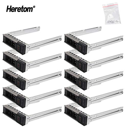 "Heretom 10 Unidades - Bandeja de Disco Duro Caddie 3,5"" X7K8W LFF SSD SAS SATA Tray Caddy para DELL 14th Gen PowerEdge R240 R340 R440 R540 R640 R740 R740xd2 R6415 R6515 R7425 XC Series SAS SATA"