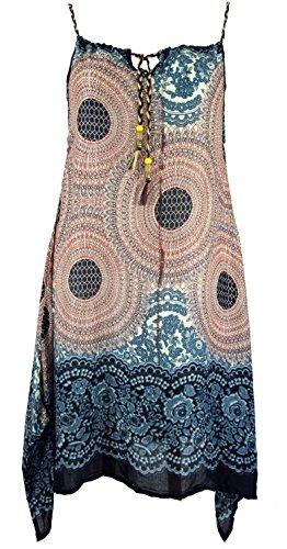 Guru-Shop Boho Mandala Midikleid, Trägerkleid, Strandkleid für Starke Frauen, Damen, Sand, Synthetisch, Size:One Size, Lange & Midi-Kleider Alternative Bekleidung