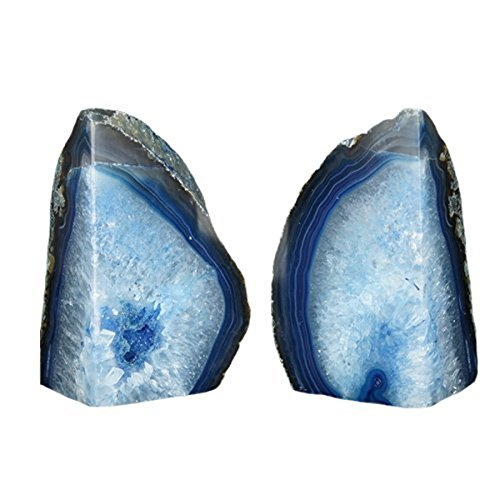 JIC Gem 4 to 6 Lbs Agate Bookends Dyed Blue Polished 1 Pair with Rubber Bumpers for Office Décor and Home Decoration