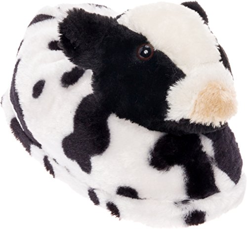 Silver Lilly Cow Slippers - Plush Animal Slippers w/Comfort Foam Support (Black & White, S)