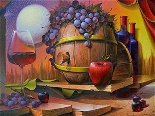HU0QWPKU lekkere druiven en rode wijn Home Decoration foto's Souvenirs handgeschilderde geschenken kunst schilderij DIY kleurrijke beginners accessoires canvas onvolmaakte kit 40 cm x 50 cm.