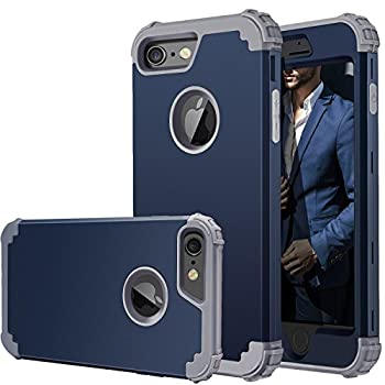 Fingic iPhone 6 Case,iPhone 6s Case Full-Body Cover 3 in 1 Hybrid Hard PC & Soft Silicone Heavy Duty Rugged Bumper Shockproof Protective Phone Case for iPhone 6/6S  4.7 inch ,Navy Blue+Gray