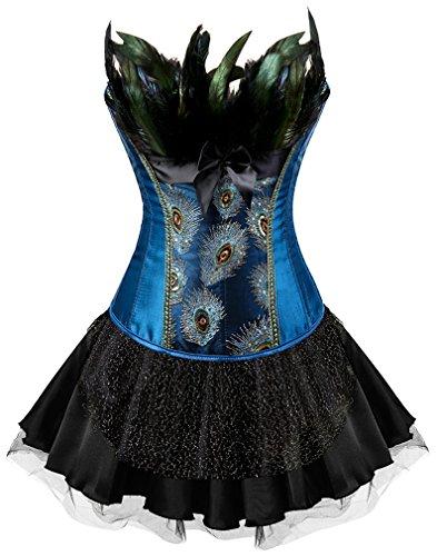 EUDOLAH Mujer Cors de Plumas de Pavo Real Vintage Gtico Bustier con Falda(Azul-Negro-QS,XL)