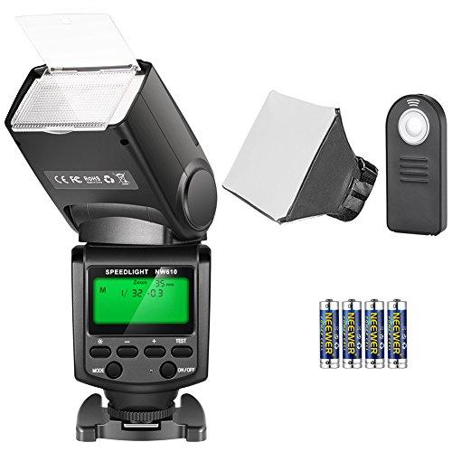 Neewer TT560 Speedlite Flash Kit para Canon Nikon Sony Pentax Cámara DSLR con Zapata Caliente Estándar, Incluye: (1) Flash TT560, (1) Flash Difusor, (1) Control Remoto, (4) Baterías