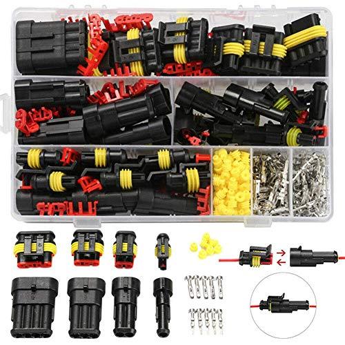 MCUILEE 352 Stück wasserdichte elektrische Steckverbinder, 1 2 3 4 Pin Weg elektrische Draht Stecker Kit Terminals Sortiment für Motorrad Auto Roller LKW Boot