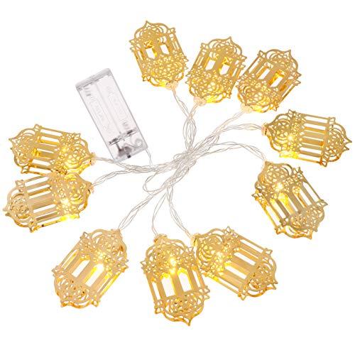 SOLUSTRE Eid Mubarak - Guirnalda de luces LED de hierro, diseño de farolillo, luz blanca cálida, 165 cm, 10 ledes, sin batería, musulmana, ramadán, decoración para fiestas