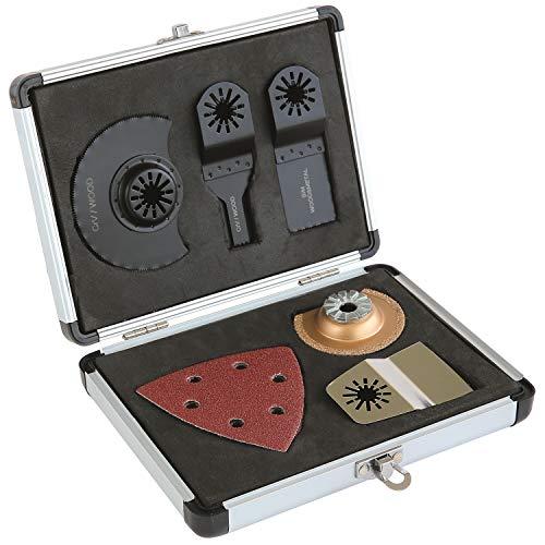 LUX-TOOLS Multitool-Set, 13-teilig | Multifunktionswerkzeug-Set inkl. Tauchsägeblättern, Segmentsägeblättern & Schaber sowie Schleifauflagen für Deltaschleifer