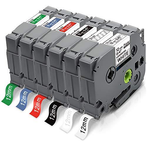 6X Pristar 12mm Compatibile Nastro per Brother TZe-231 TZe-135 TZe-335 TZe-435 TZe-535 TZe-735 TZe 12mm Laminated per P-Touch PT-H107B PT-H110 H100LB D210 H101GB H200 E100VP H100 H100R H105 D200 1000