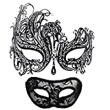 Masquerade Mask for Couples Women Metal...