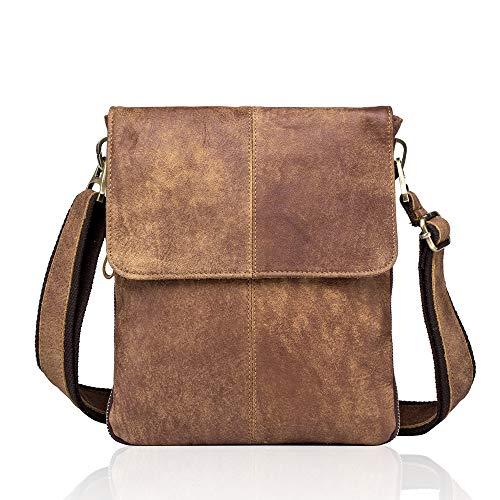 MANNUOSI Borsa da Uomo a Tracolla in Vera Pelle in cuoio Resistente borsetta messenger stile vintage di qualità Marrone