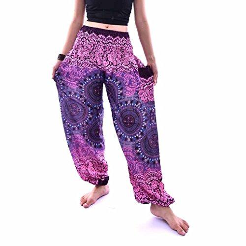 URSING Unisex Thai Harem Hosen Vintage Retro Boho Festival Hippie Smock Hohe Taille Lang Hosen Yoga Hosen Sommerhosen Damenhosen Freizeit Hose Sporthosen für Männer Frauen (Free Size, Lila)