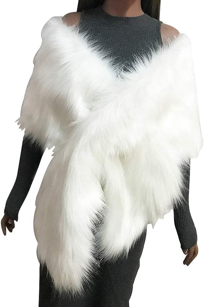 CHICFOR Women Winter Fake Faux Fur Scarf Wrap Collar Shawl Shrug for Winter Snow Day