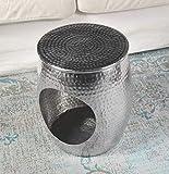 MichaelNoll Wohnzimmertisch Couchtisch Sofatisch Beistelltisch Tisch Aluminium Silber 42,5 cm