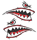 10 inch Wide x 6.6 inch Tall World War 2 Flying Tiger Fighter Shark Teeth P-40 Red Motorcycle Sportbike Lawnmower Jet Ski Decal Sticker Set V2