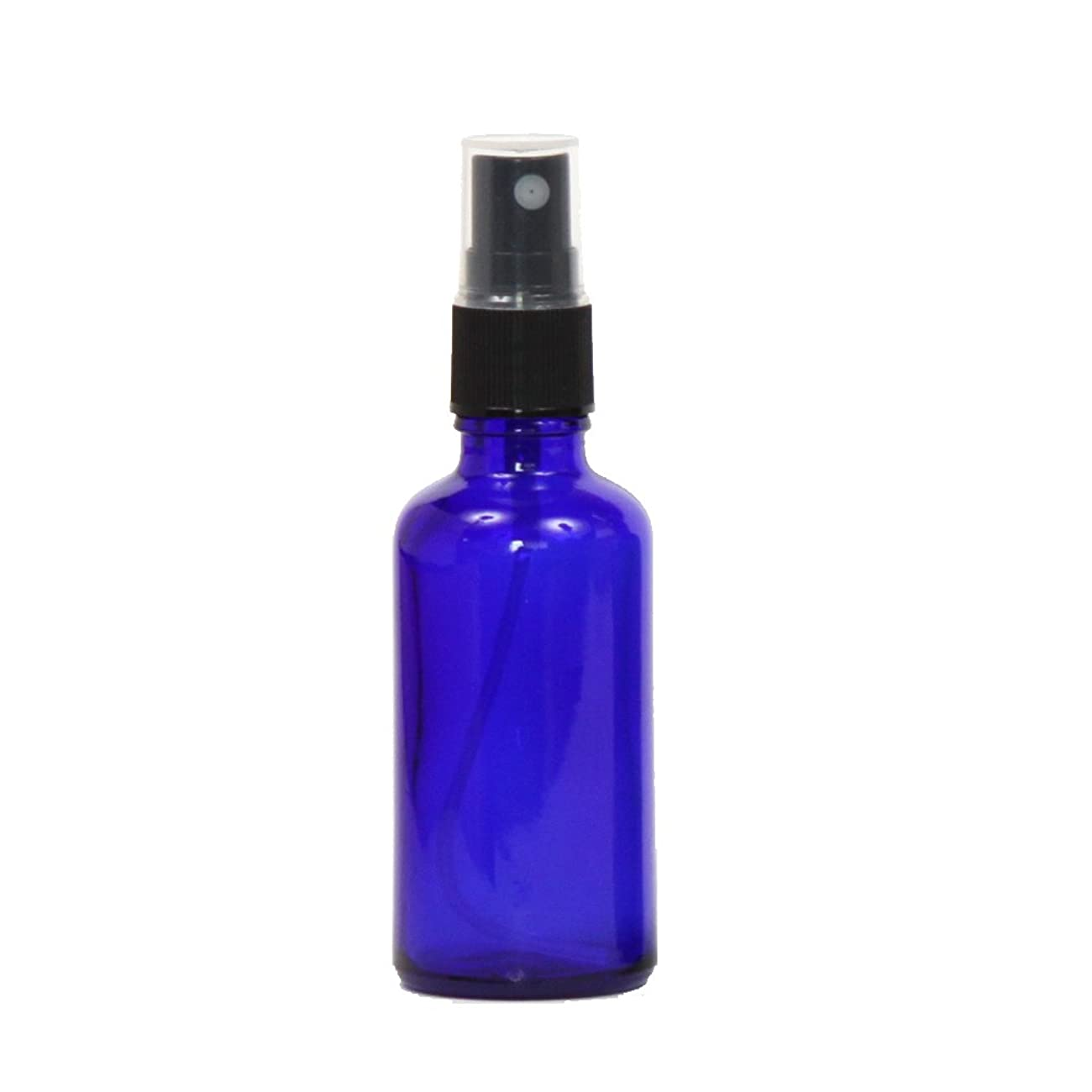 レンダリング王位厄介なスプレー容器 ガラス瓶ボトル 50mL 遮光性ブルー おしゃれガラスアトマイザー 空容器bu50g