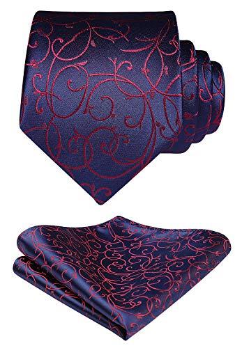HISDERN Herren Blumen Krawatte Einstecktuch SetPaisley Krawatte & Taschentuch Jacquard Gewebt Schlips Lila Einfarbig