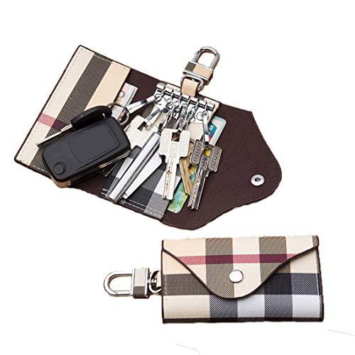 Women Men Leather Car Key Chain Card Holder, Money Wallet Pouch Case 6 keys Organizer Bag Case (Beige)