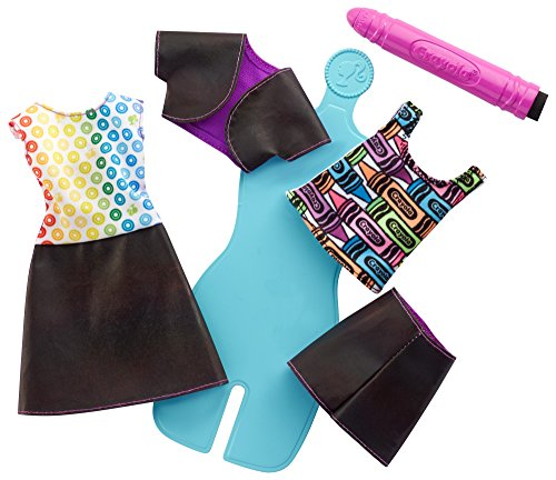 Barbie FHW87 - Crayola Regenbogen Mode Set - 2 Outfits zum Selbergestalten inkl. Zauberstift