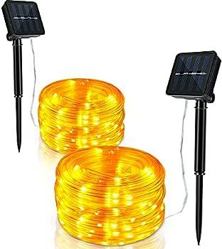2-Pack 33-Feet 100-LED Waterproof Solar String Lights (Warm White)