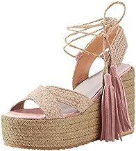 Aniywn Womens Lace Up Ankle Strap Platform Wedge Espadrille Heel Peep Toe Sandals High Heel Summer Shoes Pink