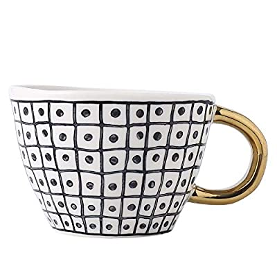 Large Ceramic Coffee Mug Tea Mugs Cups with Golden Handle Modern Black and White Pattern