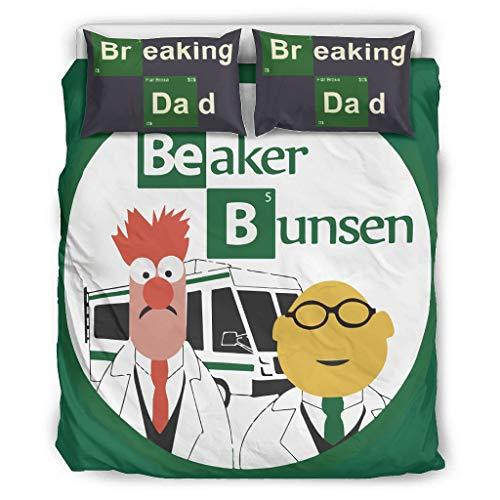 XHJQ88 Breaking Muppets Bettwäsche-Set, Retro, 3-teilig, Bettdecken-/Kissenbezüge, weich, pflegeleicht, Boho-Bettwäsche-Sets, Polyester, weiß, 66x90 inch